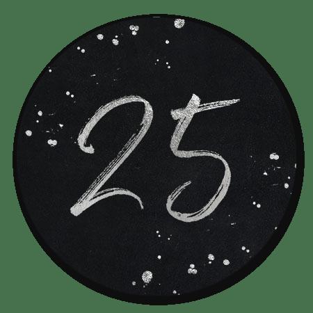 Zilveren 25 op zwart met spetters
