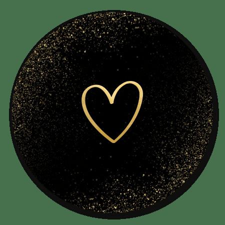 Zwart met gouden hartje