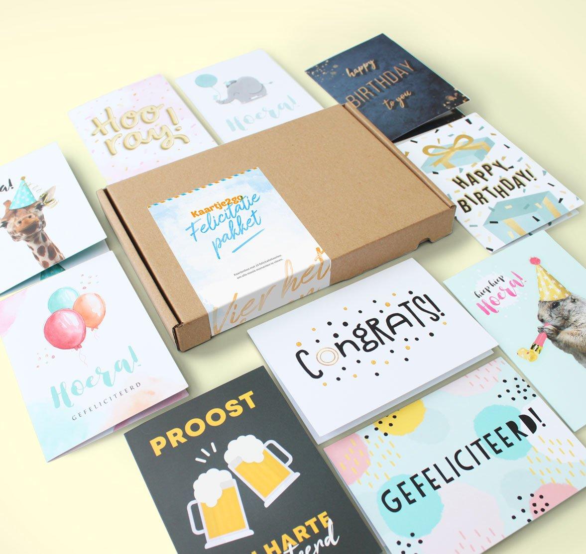 Kaartenbox felicitatie - 10 kaarten