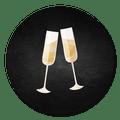 Sluitsticker uitnodiging champagne krijtbord