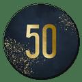 Sluitsticker uitnodiging 50 jaar donkerblauw