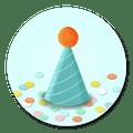Sluitsticker feesthoedje confetti