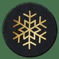 sluitsticker sneeuwvlok goud zwart