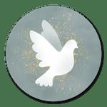 Weiße Taube auf Blaugrün