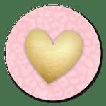 Gouden hart met roze panterprint