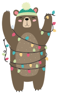 Figuur beer met kerstlichtjes voor kerstkaarten