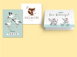 Geboorte felicitatiekaartjes met dieren