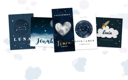 Geboortekaartjes met zon, maan en sterren