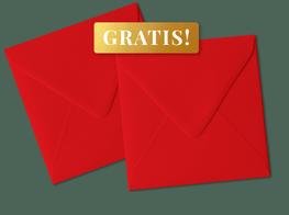 Gratis rode enveloppen bij kerstkaarten