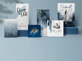 Klassiek blauwe trouwkaarten