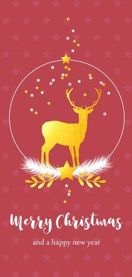 Langwerpige kerstkaart met hert