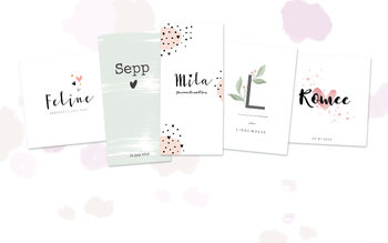 Minimalistische babykaarten