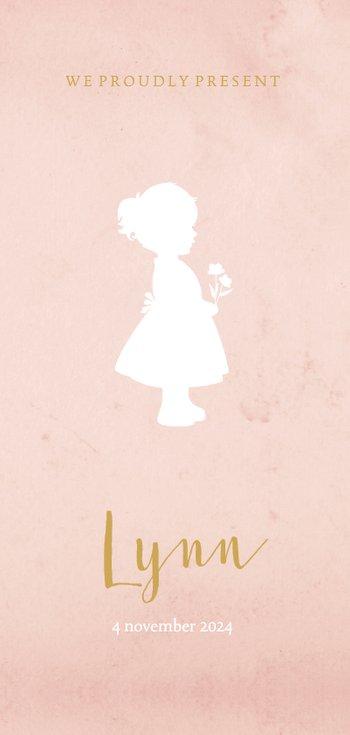 Langwerpig geboortekaartje voor een meisje