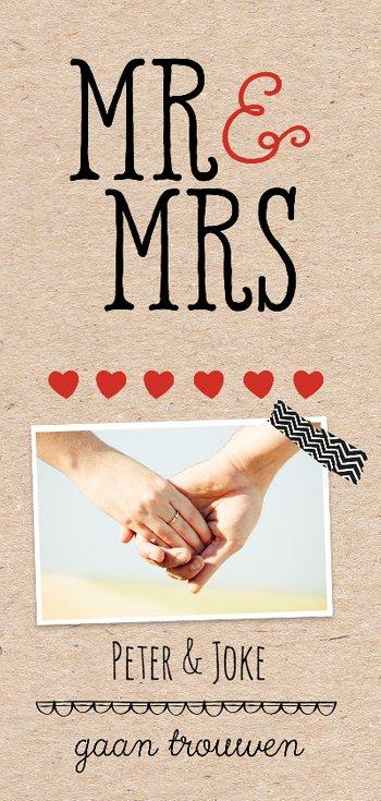 Langwerpige uitnodiging trouwkaart