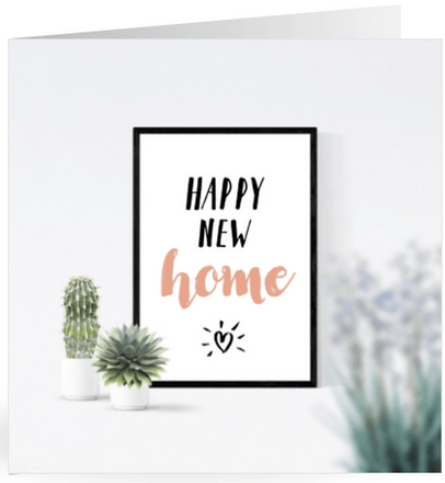 felicitatie happy new home posters en planten
