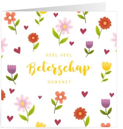 beterschapskaart met vrolijke bloemen