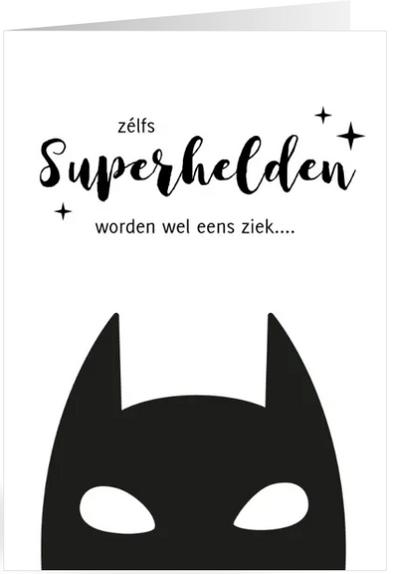 beterschapskaart met superheld
