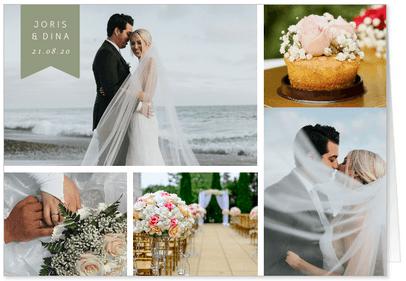 bedankkaart trouwen fotocollage