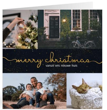 Kerst verhuiskaart donkere achtergrond