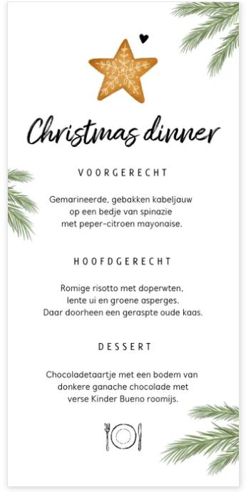 menukaart kerstdiner met takjes