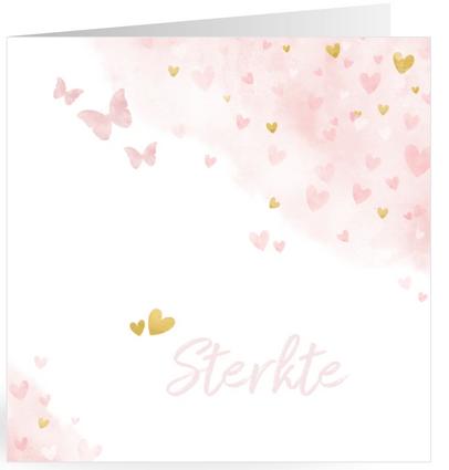 condoleancekaart roze vlinders