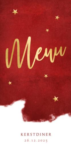 menukaart in warmrood voor een sfeervol kerstdiner