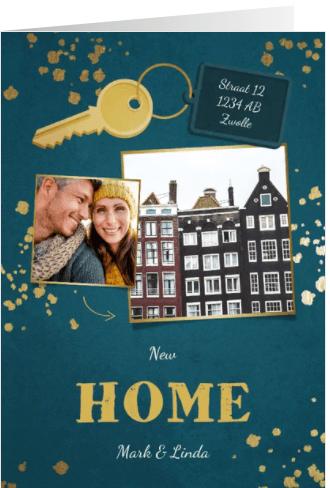Kerst verhuiskaart 2 foto's sleutel met label new home