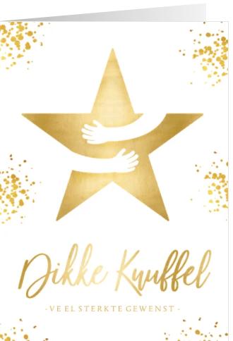 kerstkaart wit dikke knuffel ster in goud met omarming