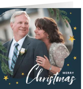 kerstkaart foto goud sterren kerst