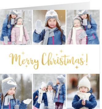 vierkante kerstkaart met fotocollage met 6 foto's en goud