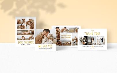 Fotocollage trouwkaarten sets