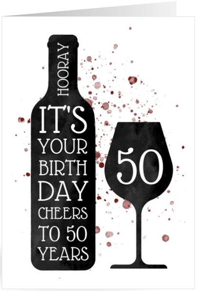 Verjaardagskaart wijn en spetters