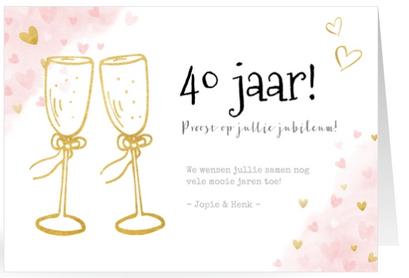 Felicitatiekaart 40 jarig huwelijksjubileum