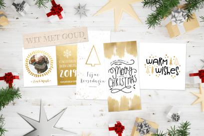 Kerstkaarten wit met goud