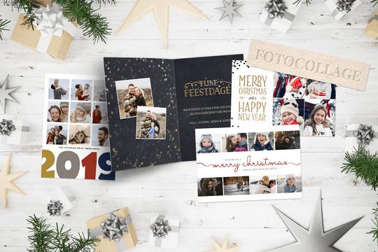 Kerst trend van 2018 - fotocollage kaarten