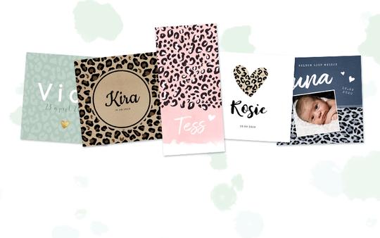 Dierenprints babykaarten