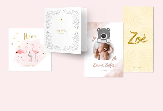 Geboortekaartjes voor een meisje