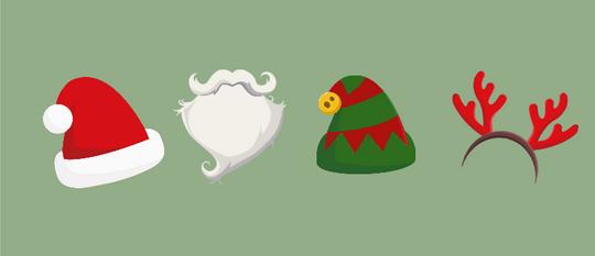 Kerstmutsen, de baard van de kerstman & andere fotofiguren