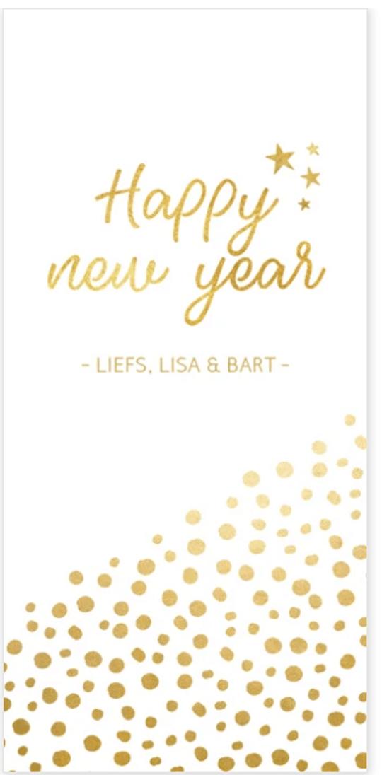 nieuwjaarskaart gouden stippen
