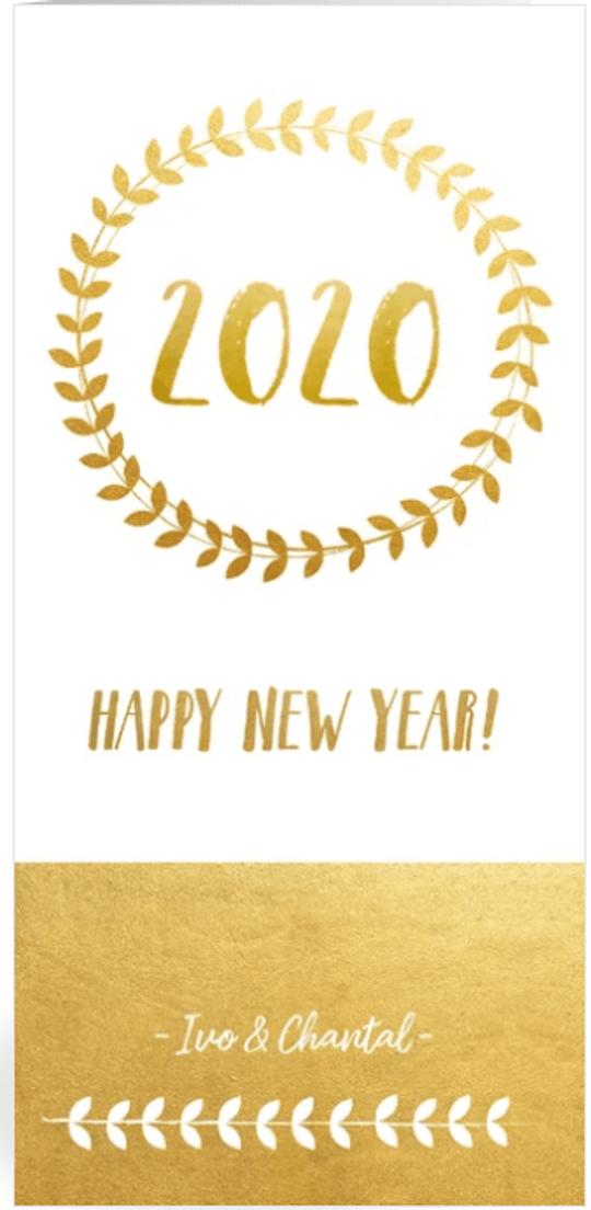 nieuwjaarskaart krans en goudlook