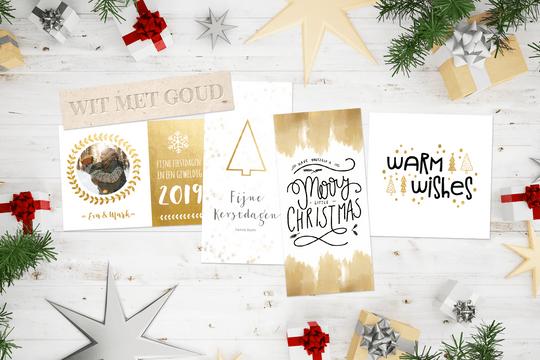 Wit met goud kerstkaarten trend
