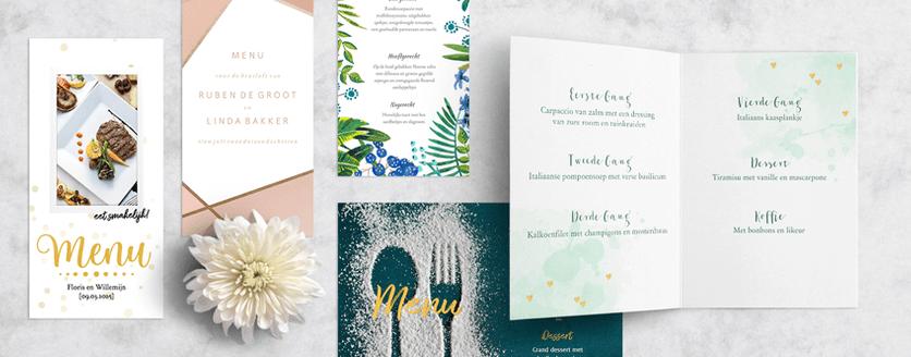 Menukaarten voor de bruiloft