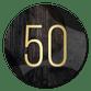 Gouden 50 met krijtbord en hout abstract