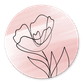 Waterverf met lijntekening bloem