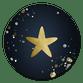 Donkerblauw met ster en spetters