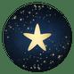 Donkerblauw met ster en sparkles