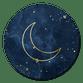 Blauwe wolken met gouden maan