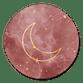 Roze wolken met gouden maan