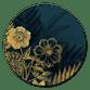 Gouden bloemen met  donkerblauw