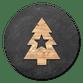 Houten kerstboom met ster en krijtbord